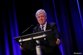 FILE - Then-BBC Director General Tony Hall makes a statement in London, Britain, Feb. 25, 2016.