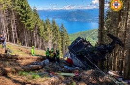 A crashed cable car is seen after it collapsed in Stresa, near Lake Maggiore, Italy, May 23, 2021. (Alpine Rescue Service/Handout)