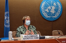United Nations High Commissioner for Human Rights Michelle Bachelet looks on after delivering a speech on global human rights…
