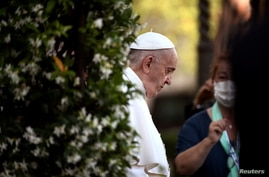 Pope Francis arrives to leads Holy Rosary prayer in Vatican gardens to end the month of May, at the Vatican, May 31, 2021.