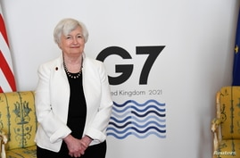 U.S. Treasury Secretary Janet Yellen poses as finance ministers from across the G7 nations meet at Lancaster House in London, Britain, June 5, 2021 ahead of the G7 leaders' summit.