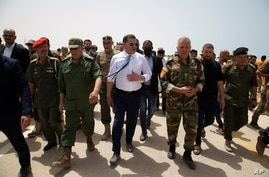 Libyan Prime Minister Prime Minister Abdul Hamid Dbeibah attends the reopening of the road between the cities of Misrata and…