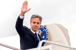 Secretary of State Antony Blinken boards his plane at Andrews Air Force Base, Md., Tuesday, June 22, 2021 to travel to Berlin…
