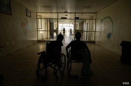 Wounded children receive care in the pediatric ward in a hospital in Mekelle, Ethiopia, June 4, 2021. (Yan Boechat/VOA)