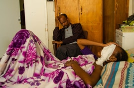 Beriha Gebray, 15, is hospitalized after being shot on her face by an unknown sniper, in Mekelle, Ethiopia, June 4, 2021. She lost her left eye and is blind in her right eye. (Yan Boechat/VOA)