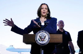 Vice President Kamala Harris talks to the media, Friday, June 25, 2021, after her tour of the U.S. Customs and Border…