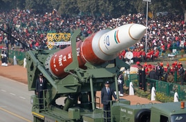 A model of a anti-satellite weapon from Defense Research and Developing Organization rolls out during Republic Day parade in New Delhi, India, Jan. 26, 2020.