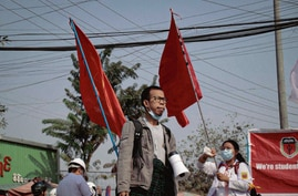 Ko Tayzar San attending demonstrations during anti-coup protests in Mandalay, Myanmar, 2021. (Courtesy photo)