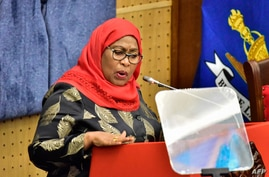 Tanzania's new President Samia Suluhu Hassan addresses the national assembly as the first female President in the country's…