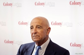 Billionaire real estate investor Thomas Barrack, Chief Executive Officer of Colony Capital, holds a meeting with media to…