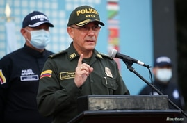 Colombia's National Police Director General Jorge Luis Vargas speaks during a news conference about the participation of…