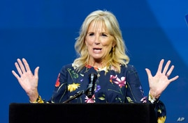 US First Lady Jill Biden speaks before the start of the Scripps National Spelling Bee, a contest for students, at Disney World in Lake Buena Vista, Florida, July 8, 2021.
