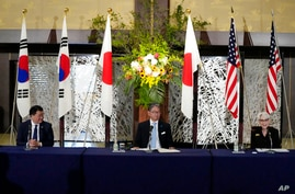 U.S. Deputy Secretary of State Wendy Sherman, right, South Korean First Vice Foreign Minister Choi Jong Kun, left, and Japanese…