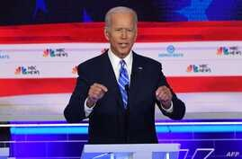 Democratic presidential hopeful former US Vice President Joseph R. Biden Jr. speaks during the second Democratic primary debate of the 2020 presidential campaign season hosted by NBC News at the Adrienne Arsht Center for the Performing Arts in Miami…