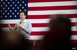 Democratic presidential hopeful Mayor Pete Buttigieg speaks during a town hall event in Walpole, NH, on November 10, 2019, as…