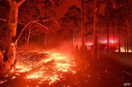 TOPSHOT - Burning embers cover the ground as firefighters (back R) battle against bushfires around the town of Nowra in the…