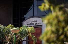 A picture taken in Maseru, Lesotho, on February 2, 2020 shows the exterior of the Palace of Justice of Lesotho. - Lesotho's…
