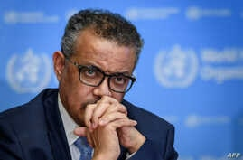 World Health Organization (WHO) Director-General Tedros Adhanom Ghebreyesus attends a daily press briefing on the new…