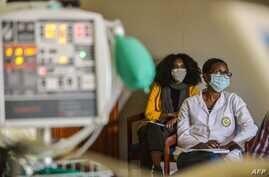 Ethiopiaon doctors attend training to use mechanical ventilators for COVID-19 patients at the American Medical Center (AMC) in…