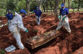 Employees bury a person who died suspectedly from COVID-19 at the Vila Formosa cemetery, in the outskirts of Sao Paulo, Brazil…