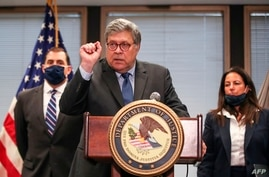 US Attorney General William Barr speaks on Operation Legend, the federal law enforcement operation, during a press conference…