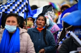 Supporters of Bolivian leftist presidential candidate Luis Arce attend the closing rally of his campaign in El Alto, Bolivia,…