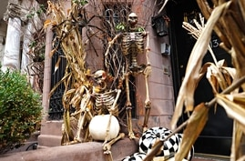 NEW YORK, NEW YORK - OCTOBER 30: Skeletons are part of a Halloween display in front of an Upper East Side home on October 30,…