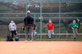 Kids wearing facemasks attend baseball practice at Pan Pacific Park amid the coronavirus pandemic, November 6, 2020, in Los…