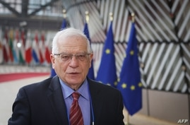 European Union High Representative for Foreign Affairs Josep Borrell speaks to media before a EU foreign ministers meeting in…
