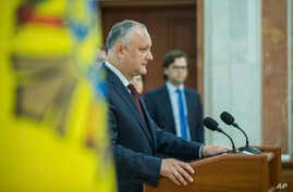 Moldova's President Igor Dodonin delivers a brief statement after a meeting of the country's Supreme Security Council in Chisinau, Moldova, June 11, 2019.