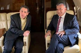 This photo released on the official twitter page of the Lebanese General Security Directorate, shows Maj. Gen. Abbas Ibrahim, right, chief of Lebanese General Security Directorate, and Nizar Zakka, left, a Lebanese citizen and permanent U.S…