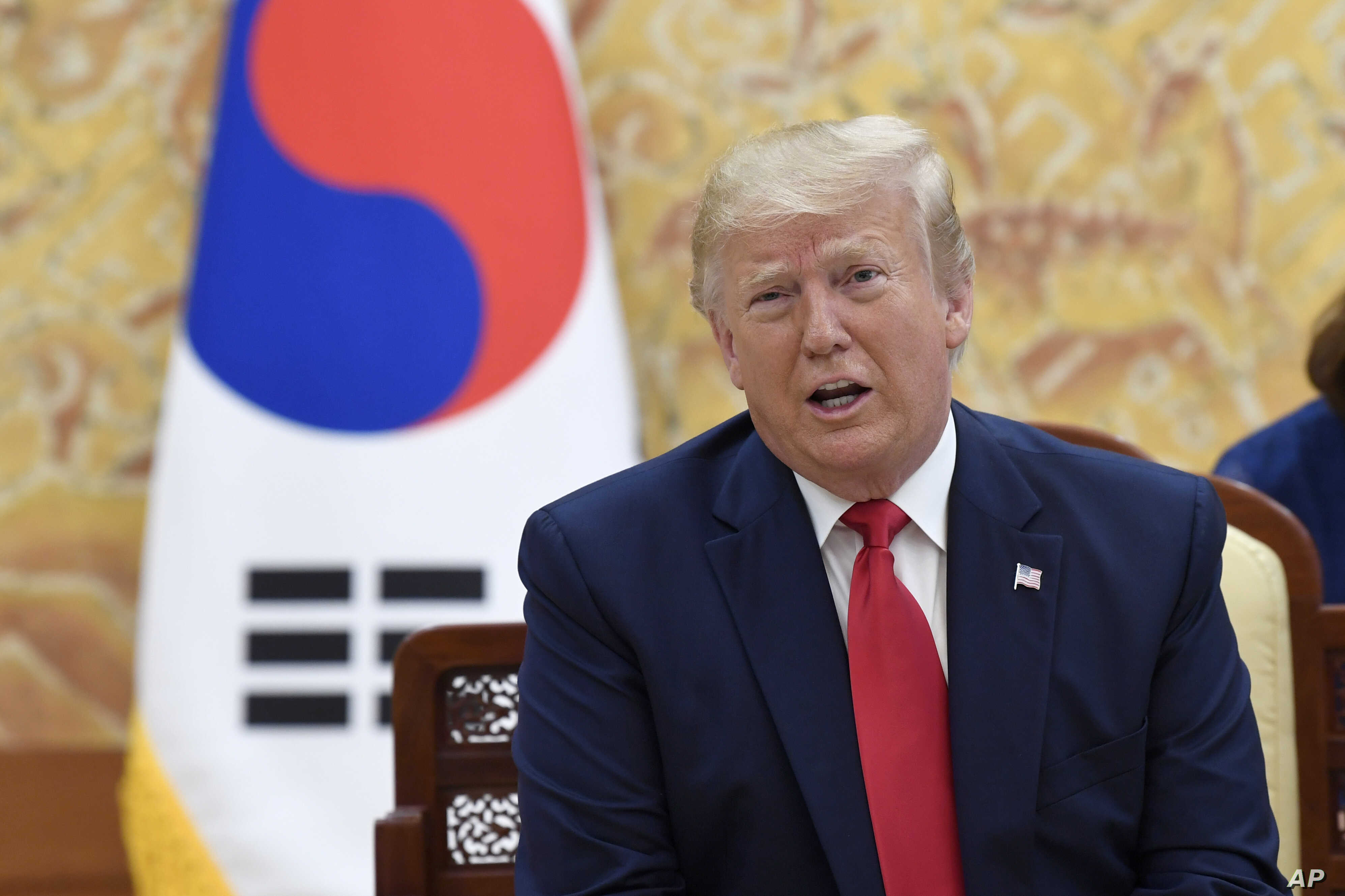 President Donald Trump speaks during a bilateral meeting with South Korean President Moon Jae-in at the Blue House in Seoul, Sunday, June 30, 2019.