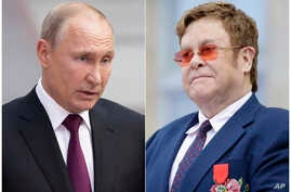 This combination photo shows Russian President Vladimir Putin in Moscow, Russia, on June 20, 2019, left, and singer Elton John at a ceremony presenting him with the Legion of Honor at the presidential Elysee Palace in Paris. John is calling out…