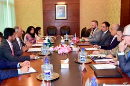 In this photo released by the Foreign Office, Special Representative for Afghanistan Reconciliation Zalmay Khalilzad, third from right, holds talks with Pakistani officials at the Foreign Minister in Islamabad, Pakistan, Sunday, June 2, 2019…