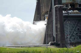 An AR-22 rocket engine is test fired at the NASA Stennis Space Center in Stennis, Miss., July 2, 2018.  The AR-22 engine is designed to power an experimental spacecraft. It's a collaboration between the Defense Advanced Research Projects Agency, Boeing and Aerojet Rocketdyne.