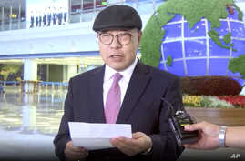 In this image made from video taken on Saturday, July 6, 2019, by North Korean Uriminzokkiri state-run website, shows the son of the highest-profile South Korean ever to defect to North Korea, Choe In-guk giving a statement to media as he arrived in…