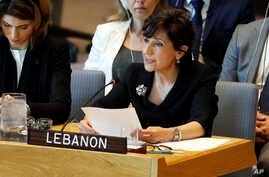 Lebanon's Ambassador Amal Mudallali speaks in the Security Council, at United Nations headquarters, Monday, April 29, 2019. (AP Photo/Richard Drew)