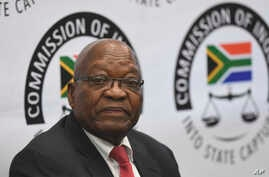 Former South Africa President Jacob Zuma appears before a commission probing allegations of corruption during his tenure as the country's leader as president from 2009 until 2018, in Johannesburg Monday July 15, 2019. Zuma was forced to resign by…