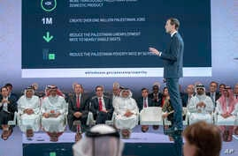 In this Tuesday, June 25, 2019, photo released by Bahrain News Agency, U.S. Treasury Secretary Steven Mnuchin, fifth from left, and Bahrain Crown Prince Salman bin Hamad Al Khalifa, sixth from left, listen to White House senior adviser Jared Kushner…