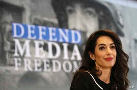 International human rights lawyer Amal Clooney attends a Foreign Ministers G7 meeting in Dinard, Brittany, April 5, 2019.