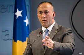"""Kosovo prime minister Ramush Haradinaj, speaks to the media during a press conference in Kosovo capital Pristina on Tuesday, Dec. 18, 2018. Haradinaj blamed Europe Union's foreign policy chief for """"deviating the dialogue"""" on normalizing ties with…"""