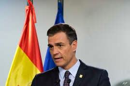 Spanish Prime Minister Pedro Sanchez speaks during a media conference at an EU summit in Brussels,  July 2, 2019.