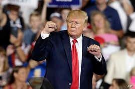 President Donald Trump gestures while speaking at a campaign rally in Greenville, N.C., Wednesday, July 17, 2019. (AP Photo/Gerry Broome)