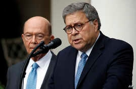 Attorney General William Barr speaks about the census as Commerce Secretary Wilbur Ross listens during an event with President Donald Trump in the Rose Garden at the White House, July 11, 2019, in Washington.