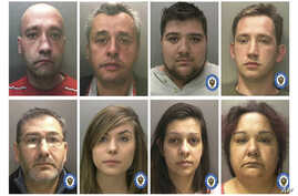 This photo issued July 5, 2019, by Britain's West Midlands Police, shows members of a modern-day slavery ring in the UK. Reporting restrictions were lifted Friday, allowing details to be published about the group who have left more than 400 victims.
