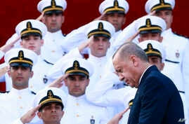 Turkey's President Recep Tayyip Erdogan, arrives to deliver a speech to graduates of a military academy in Istanbul, Saturday, Aug. 31, 2019. Erdogan said the U.S. had up to three weeks to satisfy Turkish demands and has threatened to launch a…