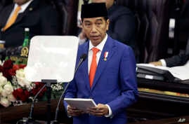 Indonesia's President Joko Widodo delivers his state of the nation address ahead of the country's Independence Day at the parliament building in Jakarta, Indonesia, Aug. 16, 2019.