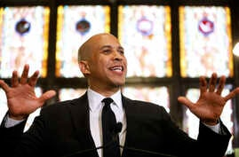 Democratic presidential candidate, Sen. Cory Booker, D-N.J., speaks about gun control at Mother Emanuel AME Church, Aug.  7, 2019, in Charleston, S.C. Nine black Bible study participants were killed at the church in a 2015 racist attack.