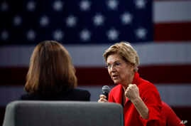 Democratic presidential candidate Sen. Elizabeth Warren speaks at the Presidential Gun Sense Forum, Saturday, Aug. 10, 2019, in Des Moines, Iowa. (AP Photo/Charlie Neibergall)