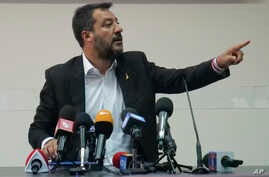 Italian Deputy Prime Minister and Interior Minister Matteo Salvini meets the journalists at the end of a security conference in Castel Volturno, southern Italy, Thursday, Aug. 15, 2019. (AP Photo/Paolo Santalucia)
